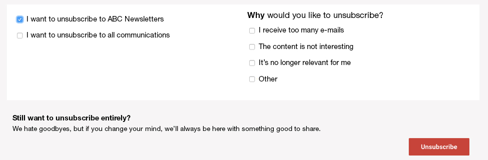 Example of unsubscribe survey
